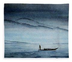 The Lonely Boat Man Fleece Blanket