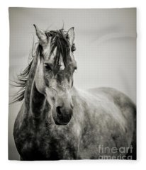 The Lonely Horse Portrait In Black And White Fleece Blanket