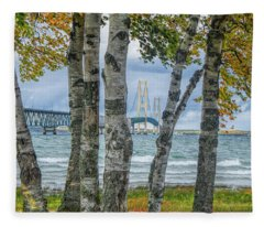 The Mackinaw Bridge By The Straits Of Mackinac In Autumn With Birch Trees Fleece Blanket