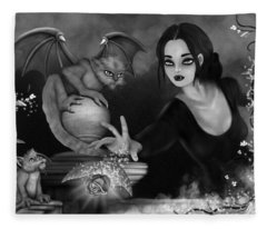 The Magic Rose - Black And White Fantasy Art Fleece Blanket