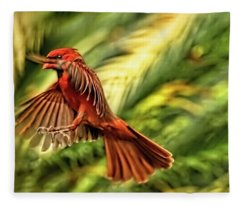 The Male Cardinal Approaches Fleece Blanket