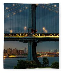 The Manhattan Bridge During Blue Hour Fleece Blanket