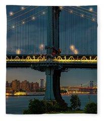 The Manhattan Bridge During Blue Hour Fleece Blanket