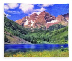 The Maroon Bells Fleece Blanket