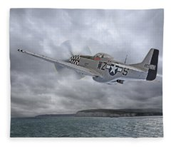 The Mission - P51 Over Dover Fleece Blanket