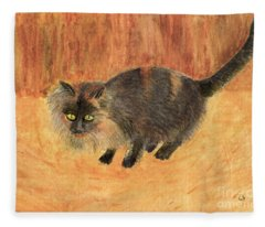 The Mouser, Barn Cat Watercolor Fleece Blanket