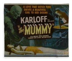The Mummy 1929 Poster Boris Karloff Fleece Blanket