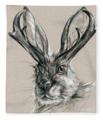 The Mythical Jackalope Fleece Blanket