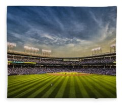 The New Wrigley Field With Pretty Sunset Sky Fleece Blanket