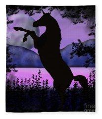 The Night Of The Unicorn Fleece Blanket