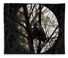 The Night Owl And Harvest Moon Fleece Blanket