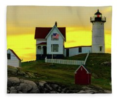 The Nubble Cape Neddick Lighthouse In Maine At Dawn Fleece Blanket