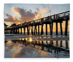 Naples Pier At Sunset Naples Florida Ripples Fleece Blanket