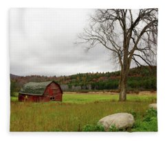 Fleece Blanket featuring the photograph The Old Barn With Tree by Nancy De Flon