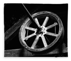 The Old Wheel In Black And White Fleece Blanket