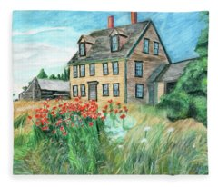 The Olson House With Poppies Fleece Blanket