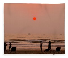 The Orange Moon Fleece Blanket