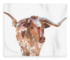 The Original Longhorn Standing Earth Quack Watercolor Painting By Kmcelwaine Fleece Blanket