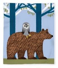 The Owl And The Bear Fleece Blanket