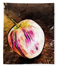 The Pale Pink Apple With The Hot Pink Stripes Fleece Blanket