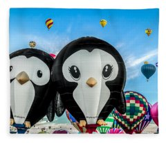 Puddles And Splash - The Penguin Hot Air Balloons Fleece Blanket