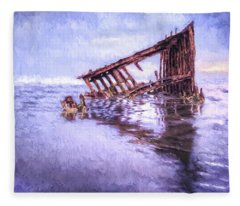 A Stormy Peter Iredale Fleece Blanket