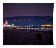 The Pier After Dark - 3 Fleece Blanket