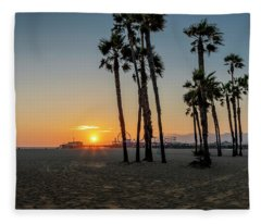 The Pier At Sunset Fleece Blanket