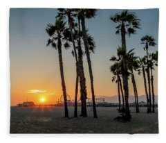 The Pier At Sunset - Square Fleece Blanket