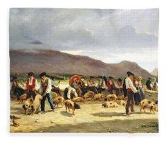 The Pig Market Fleece Blanket