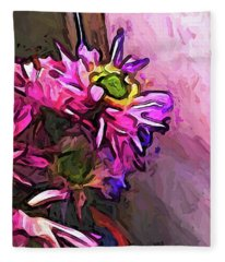 The Pink And Purple Flower By The Pale Pink Wall Fleece Blanket