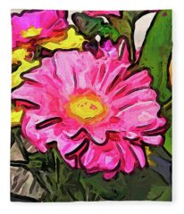 The Pink And Yellow Flowers With The Big Green Leaves Fleece Blanket