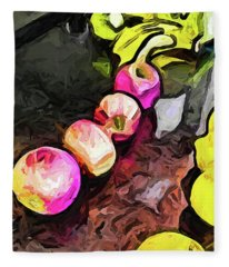 The Pink Apples In A Curve With The Yellow Lemons Fleece Blanket
