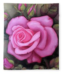 The Pink Dream Rose Fleece Blanket
