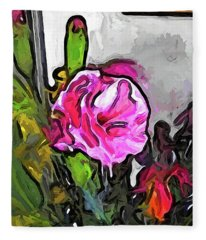 The Pink Flower With The Burgundy Buds Fleece Blanket