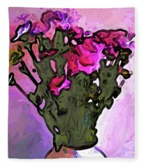 The Pink Flowers With The Long Stems In The Vase Fleece Blanket