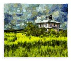 The Pink House In Salt Marsh-van Gogh Style Fleece Blanket