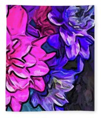 The Pink Petals With The Purple And Blue Flowers Fleece Blanket