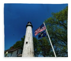 The Pointe Aux Barques Lighthouse And Bird Fleece Blanket
