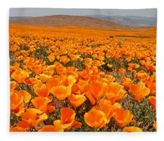 The Poppy Fields - Antelope Valley Fleece Blanket