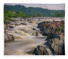 The Potomac River At Great Falls Fleece Blanket