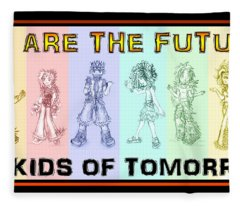 Fleece Blanket featuring the drawing The Proud Kids Of Tomorrow 1 by Shawn Dall