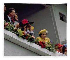 The Queen At Derby Day 1988 Fleece Blanket
