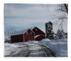 The Red Barn In The Snow Fleece Blanket
