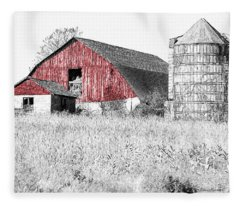 The Red Barn - Sketch 0004 Fleece Blanket