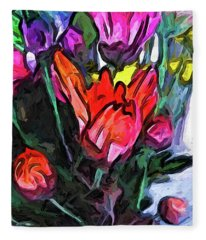 The Red Flower And The Rainbow Flowers Fleece Blanket