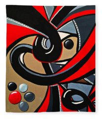 Red Black Abstract Art Painting, Swirl Acrylic Painting Fleece Blanket