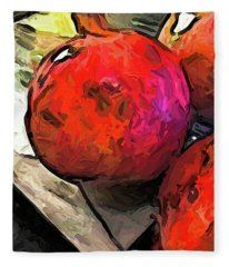 The Red Pomegranates On The Marble Chopping Board Fleece Blanket
