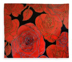 The Red Red Roses Fleece Blanket