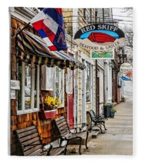 The Red Skiff In Rockport Ma Fleece Blanket